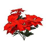 WINOMO Real Touch Flanell Künstliche Weihnachten Blumen Red Poinsettia Büsche Bouquets Weihnachtsbaum Ornamente Herzstück für Weihnachten Home Office Decor (rot)