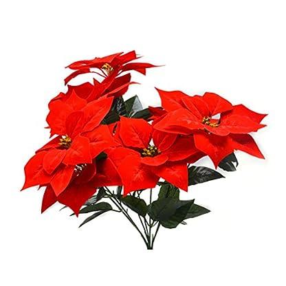 Vosarea Real Touch Franela Artificial Navidad Flores Rojas Poinsettia arbustos Ramos de Navidad árbol Adornos Centro de Mesa para la decoración de la Oficina de Navidad (Rojo)