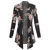 HX fashion Cardigan Damen Langarm Asymmetrisch Blumendruck Mantel Classic Tops Vintage Casual Bequem Luftig Bluse Kimono Outwear Frühling Herbst Kleidung (Color : Schwarz, Size : 2XL)