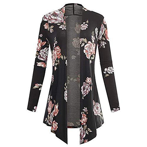 Cardigan ladies manica lunga asimmetrica stampa floreale grazioso cappotto vintage casual confortevole camicia ariosa kimono outwear primavera autunno (color : schwarz, size : l)
