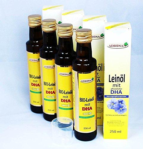 Adrisan BIO-Leinöl mit DHA, 4er Pack (4 x 250 ml) mit Dosierer, natives Speiseöl aus 1. Kaltpressung (1000)