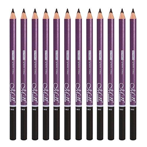 Homyl 12 Packung Wasserdicht Augenbrauenstift Make-up Stift Pinsel, Dunkelbraun, Hellbraun und Schwarz - Dunkelbraun