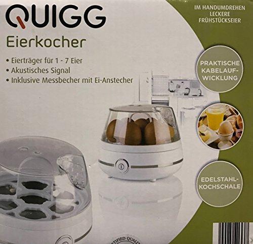 Quigg Cuecehuevos con acero inoxidable hervidor de Koch Carcasa rígida de huevos de hasta 7huevos