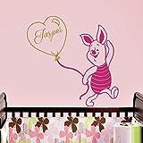 Vinyl Wandtattoo Winnie Puuh the Pooh Ballon Ferkel mit Namen für Junge Mädchen Kinder Monogramm Baby Bär Kinder Wandaufkleber Wandsticker Wanddekoration Schlafzimmer Kinderzimmer Babyzimmer A353