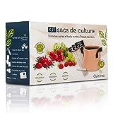 Cultivea - Kit de sacs de culture - Prêt à Pousser - Graines Françaises 100% Écologiques et Bio - Jardin potager - Fruits et Légumes (Tomate, Fraise et Radis) - Idée Cadeau -