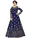 Salwar Style Women's Taffeta Silk Anarkali Gown(Navy Blue_2172)