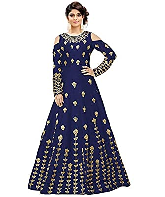 Salwar Style Women's Taffeta Silk Anarkali Gown(Navy Blue_2172)