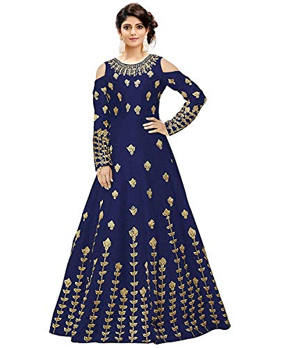 Salwar Style Women\'s Taffeta Silk Anarkali Gown(Navy Blue_2172)