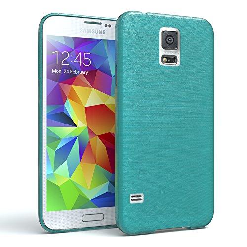 EAZY CASE Hülle für Samsung Galaxy S5/LTE+/Duos/Neo Schutzhülle Silikon, gebürstet, Slimcover in Edelstahl Optik, Handyhülle, TPU Hülle/Soft Case, Backcover, Silikonhülle Brushed, Hellblau