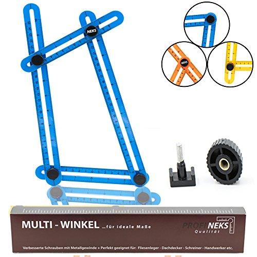 Profi NEKS, Angle izer, Winkelschablone, Multiwinkel, Messlineal, Messgerät mit Metallschraubengewinde für alle Formen, mit Tragetasche, wichtige Ergänzung für jeden Werkzeugkasten, Blau