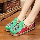 SED Filles'Shoes été brodé maquillage du visage chaussures appartements en tissu Escarpins Chaussures femme enceinte/confortable confortable solides semelles en tissu style chinois vieux Pékin main