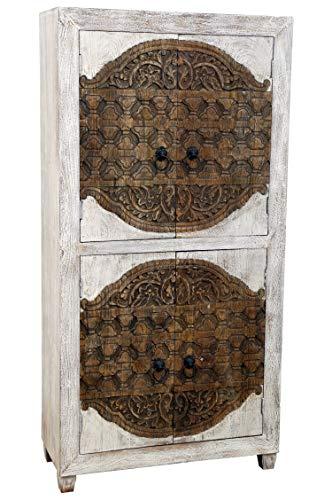 Orientalischer grosser Schrank Kleiderschrank Aswa 180cm hoch   Marokkanischer Vintage Dielenschrank schmal   Orientalische Schränke aus Holz massiv für den Flur, Schlafzimmer, Wohnzimmer oder Bad