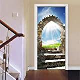 CCNIU 3D Puerta Pegatinas, Arcos De Piedra Mural DIY HidróFugo Pegatina De Pared Casa DecoracióN Puerta Pared RestauracióN PVC Autoadhesivo Desmontable, 77 * 200cm