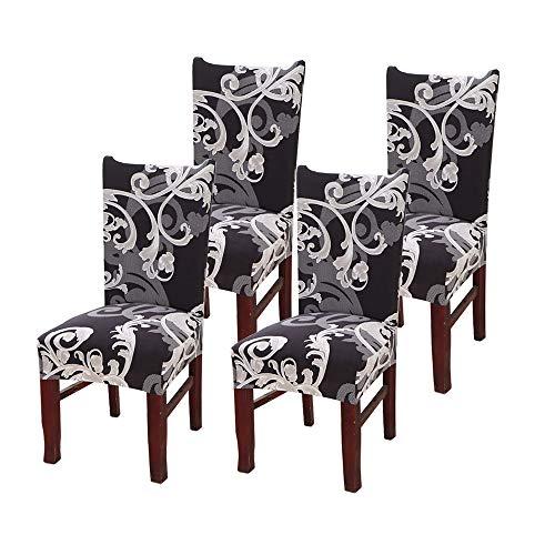 SUPERSUN Stuhlhussen 4er Set Stuhlbezug Stretch Stuhlbezug mit Muster Esszimmer Sitz Stuhl Abdeckungen für Haus (Schwarz Weiß) -