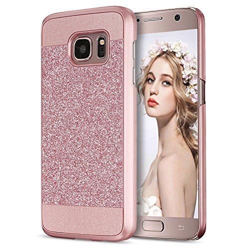 Bling Bling Strass Case (Galaxy S7 Hülle, Imikoko® Luxus Bling Hardcase Strass Glitzer Schutzhülle Hülle Handyhülle Etui Case Für Samsung Galaxy S7(Rosegold))
