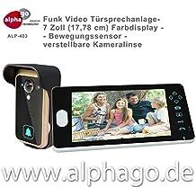 Funk- Video Türsprechanlage ALP-403 (nachfolge Modell ALP-400) NEU: verstellbare Kameralinse - 7 Zoll Farbdisplay - Drahtlose Gegensprechanlage - kabellose Installation - Bewegungssensor - Tür-Überwachung - erweiterbar bis zu 3 Monitore - Touchbuttons - Stromversorgung Wechsel (9-16V) Gleichspannung (5-16V)