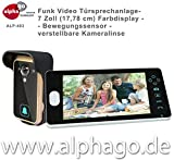 Funk- Video Türsprechanlage ALP-403 - verstellbare Kameralinse - 7 Zoll Farbdisplay - Drahtlose Gegensprechanlage - erweiterbar bis zu 3 Monitore - Stromversorgung AC/DC (9-16V)