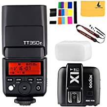 Godox tt350F 2,4G HSS 1/8000s TTL GN cámara flash Speedlite para cámara digital Fuji, Godox x1t-f TTL 1/8000s HSS 32Canales 2.4G Disparador de flash transmisor para Fuji Cámaras Réflex Digitales