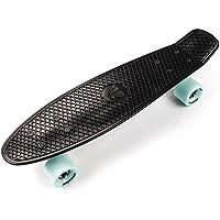 meteor Monopatín patineta Retro plástico Skateboard Completo niños jóvenes Adultos Mejor Calidad Robusto Ligero Ruedas un Buen Regalo (Negro Menta Plata)