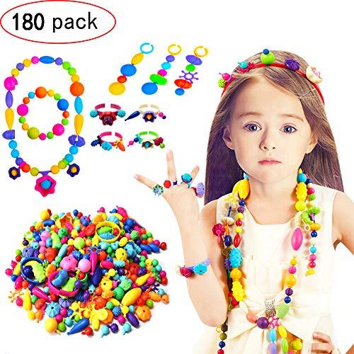 GCFIYPP 180 Pack Kinder Pop Snap Perlen Set - DIY Schmuck Kit für Halskette und Armband für Mädchen Kunst Handwerk Geschenk Lernspielzeug (Zusammen Snap Perlen)