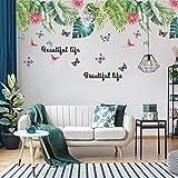 HYXLN Verte Stickers Palm Feuilles Herbe Murale Chambre Enfants Stickers Muraux Décor À La Maison