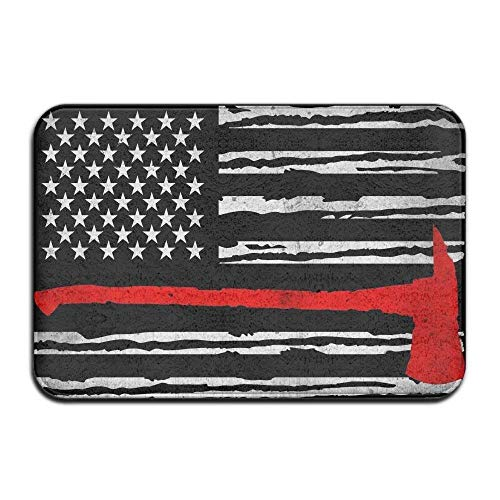 1720d36d47f2 BUZRL Thin Red Line Firefighter Distressed American Flag Doormats 23.6