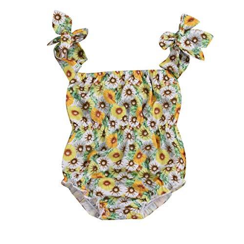 Siamesische Zwillinge Kostüm - squarex Sommer-Säuglingsbaby-ärmelloser Overall-Sonnenblumendruck-Spielanzug-Bodysuit-Kleidung-siamesischer Spielanzug-Netter Overall