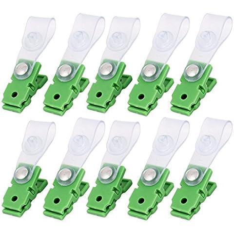 Plástico Hebilla De Cierre Etiqueta Placa etiqueta portatarjetas Clip 10 PIEZAS Verde