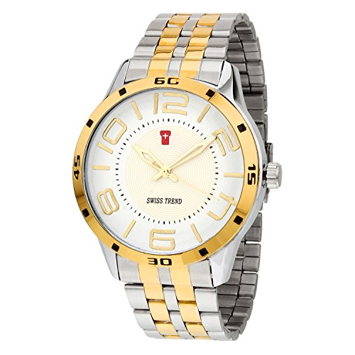 Swiss Trend White Dial Robust Steel Gold Analog Watch For Men - OLST2049