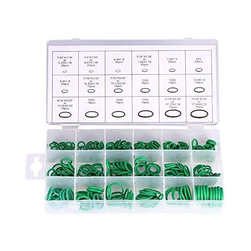 CESHUMD - Juego de juntas tóricas de goma, 270 unidades, para fontanería, automoción, reparación general con funda, 18 tamaños, color verde