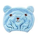 MMLC Wrap Turban Haartrockentuch, Handtuch Kopftuch Haartrockentuch Handtücher Haarpunzel Haar trocknendes Tuch Schnelltrocknend saugfähig Baumwolle (Blue)