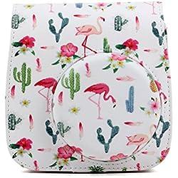 ledmomo cuir PU Housse pour Appareil photo Fujifilm Instax Mini 8/Mini 8+/Mini 9Appareil photo instantané (Cactus)