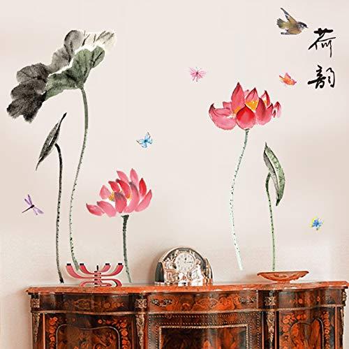 Inchiostro e fiore di loto china wind wall sticker soggiorno sfondo muro, lotus rima, oversize