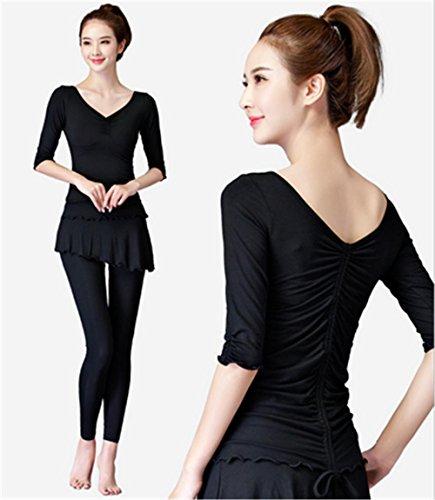 Weibliche schwarze Winter Yoga-Kleidung / Set , xxl , middle