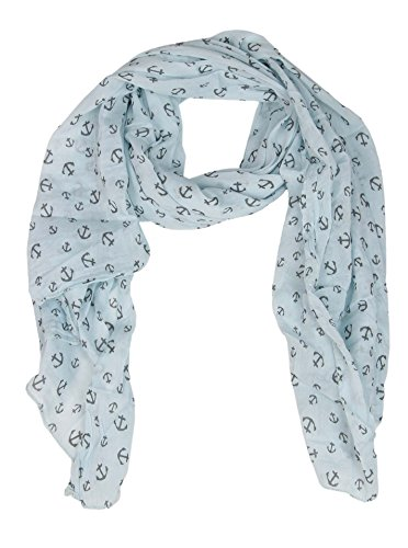 Cashmere Dreams Seiden-Tuch mit Anker Motiv - Hochwertiger Schal für Damen Mädchen - Halstuch - Umschlagstuch - Loop - weicher Schlauchschal für Frühjahr Sommer Herbst und Winter