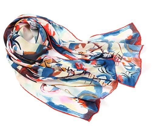 Prettystern P807 Sciarpa di Seta 160 cm D'arte Espressionismo Bordi Arrotolate a Mano Pittore Kandinsky Composizione Vi