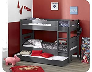 Bow Bunk Bed - charcoal grey