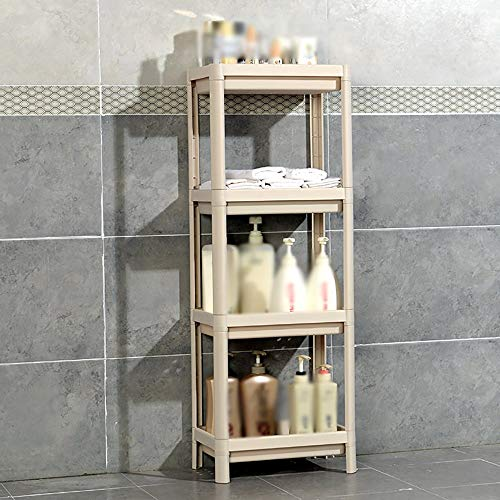S&RL Ablagefach Regal Gewürzregal Badezimmer Kunststoff Standwaschbecken Ablage für Küche und Verschiedene Abstellräume, Beige, 4-stufig (Badezimmer Standwaschbecken)