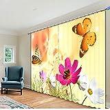 Eqwr 3D Digitaldruck Dreidimensionale Reduktion Schallschutz Vorhang Hohe Präzision Vorhang Schmetterling Blumen H240 * W340 cm