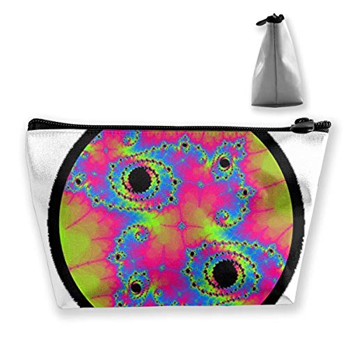 fd3c8ba8bbc Psychedelic Fractal Neon Rave Women Cosmetic Make Up Storage Bag Organizer  Purse Zipper Pouch
