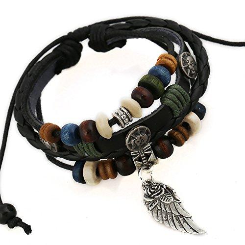 Imperium & Co Unisex Multi-Band Leather Angel Wing Tribal Bracelet Men's/Women's (FREE GIFT WRAPPED)