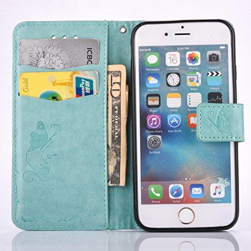 Coque pour iPhone 5 5S 5G / iPhone SE ,Housse en cuir pour iPhone 5 5S 5G / iPhone SE ,Ecoway de gaufrage étui en cuir PU Cuir Flip Magnétique Portefeuille Etui Housse de Protection Coque Étui Case Co vert Papillons