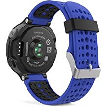 MoKo Forerunner 235 / 220 / 230 / 620 / 630 / 735 Correa - Reemplazo Suave Silicona Watch Band Deportiva Accessorios de Reloj Pulsera Ajustable con Cierre de Clip para Garmin Forerunner 235 Smart Watch, Azul Real & Negro