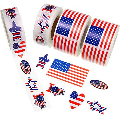 Zonon 1500 Stücke Amerikanische Flagge Aufkleber Patriotische Aufkleber USA Aufkleber Abziehbilder für Veterans Day Independence Day Dekoration (6 Stil)