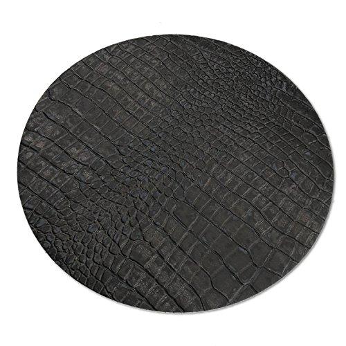Hill Homme Living en cuir véritable – Set de table – de table – Set de table rond en cuir de vache de grande qualité avec croco, fabriqué en Allemagne, Ca. Ø 38 cm