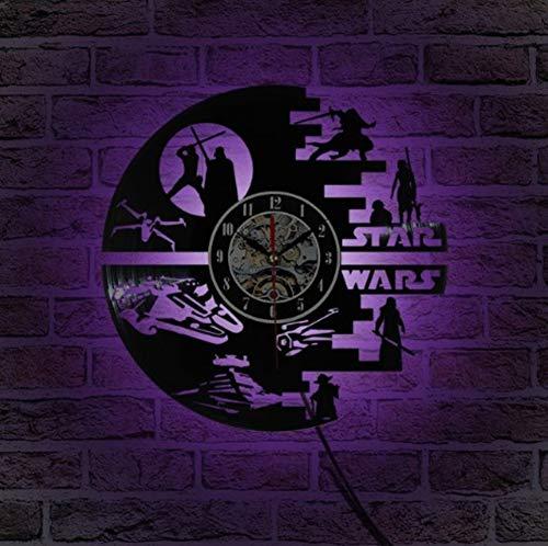 HAOLY Star Wars Reloj,Reloj Colorido led,Reloj de Vinilo Pared Registro,Decoración de la habitación de los niños,Reloj de Pared de Vinilo-A 30cm(12inch)
