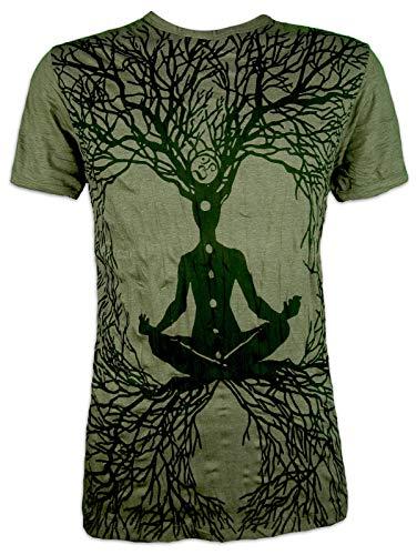 Sure Herren T-Shirt Wicca Art Guru Magie Psychedelic Yoga Goa Trance Hippie Yogi (Olive Grün L) (Arten Von Goa)