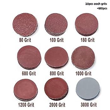 Goodchanceuk, 3-zoll-(7,5Cm)-schleifscheiben-papier, Klettband-schwingschleifer-ballen, Körnung: P80, P100, P180, P600, P800, P1000, P1200, P2000, P3000. 0