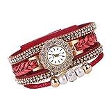 LABIUO Frauen Mode Luxus Kristall Strass Armbanduhr Vintage Gewebte Quarzuhr(rot,Freie Größe)