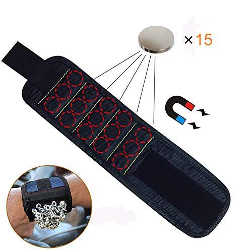 JTENG Magnetische Armbänder, Magnetarmband mit 10 leistungsstarken Magneten Magnet Armbänder verstellbares Klettband zum Halten von Werkzeugen, Schrauben, Nägel, Bohren Bits und Kleinwerkzeuge - 5